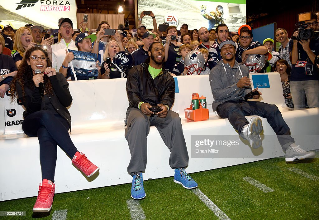 Singer and NFL superfan Jordin Sparks hosts New England Patriots running back Shane Vereen and Seattle Seahawks cornerback Richard Sherman during...