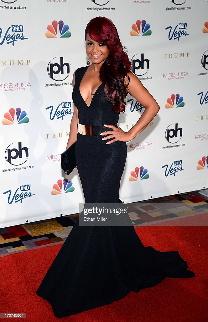 Singer and pageant judge <a gi-track='captionPersonalityLinkClicked' href=/galleries/search?phrase=Christina+Milian&family=editorial&specificpeople=171274 ng-click='$event.stopPropagation()'>Christina Milian</a> arrives at the 2013 Miss USA pageant at Planet Hollywood Resort & Casino on June 16, 2013 in Las Vegas, Nevada.
