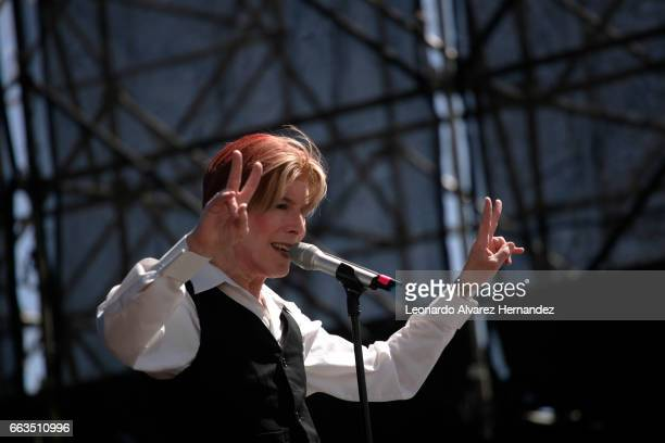Singer and performer David Brighton performs dressed up as late singer David Bowie during the thribute show Space Odity as part of the Roxy Festival...