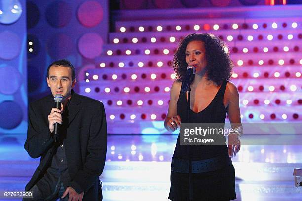 Singer and 'Popstars' jury member Angie with humorist Elie Semoun appear on the television show 'Vivement Dimanche' whose featured guest is Michèle...