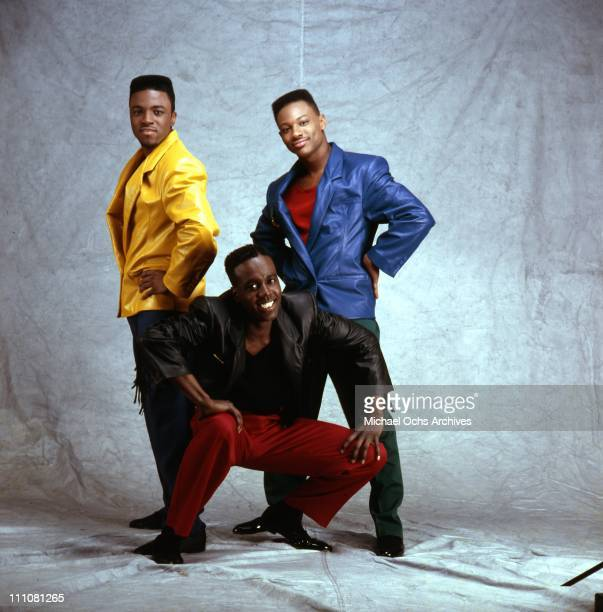 Singer and producer Teddy Riley Aaron Hall and Timmy Gatling of the R and B group 'Guy' pose for a portrait in 1987