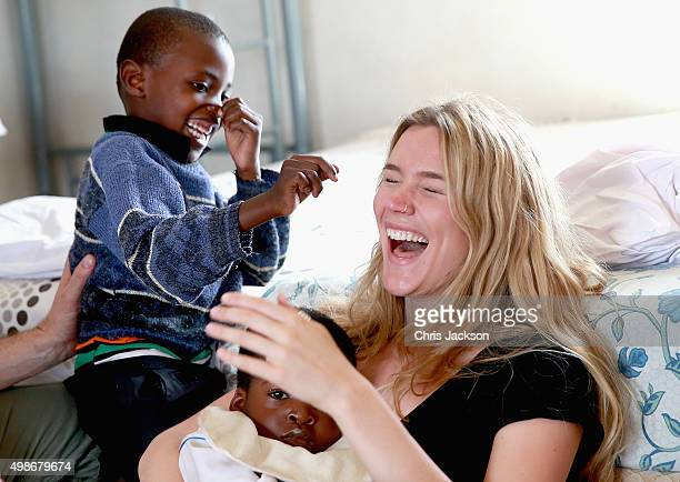 Singer and Sentebale Ambassador Joss Stone meets children and carers at Phelisanong Children's Home during a Sentebale programme visit on November 25...