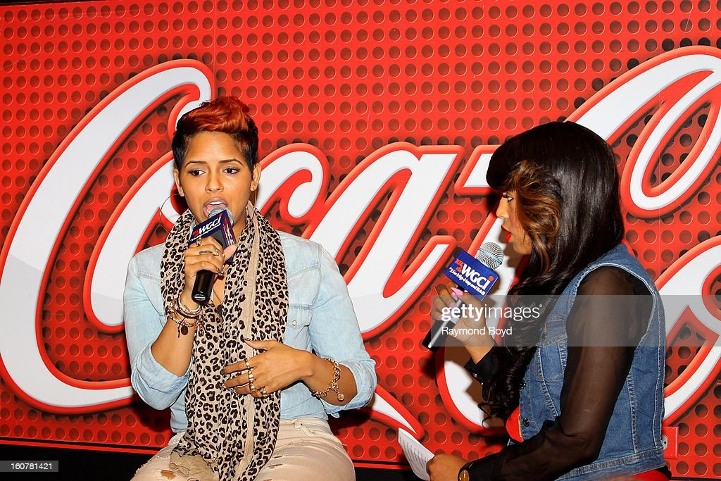 Singer and song writer RaVaughn, is interviewed by on-air personality Demi Lobo in the WGCI-FM 'Coca-Cola Lounge' in Chicago, Illinois on FEBRUARY