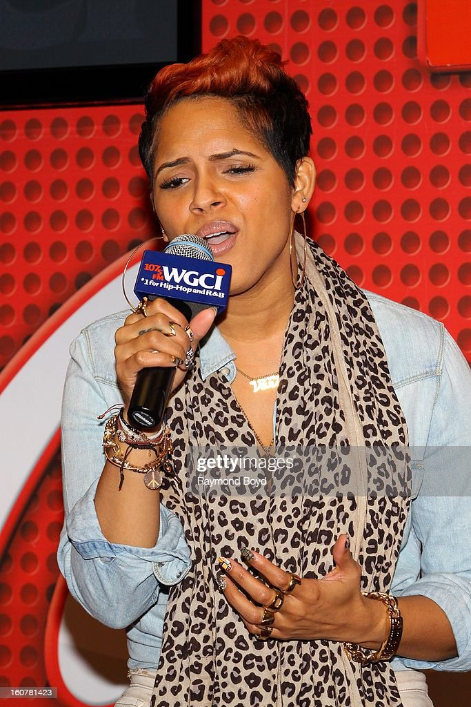 Singer and song writer RaVaughn, performs in the WGCI-FM 'Coca-Cola Lounge' in Chicago, Illinois on FEBRUARY