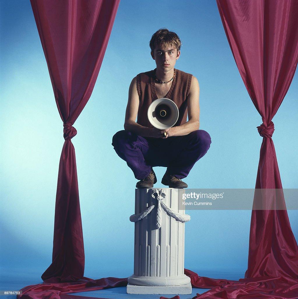 Singer and songwriter Damon Albarn of English pop group Blur, July 1991.