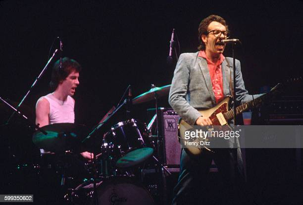 Singer and songwriter Elvis Costello performs with the Attractions in concert at the Long Beach Arena California Popular for his late 1970s New Wave...