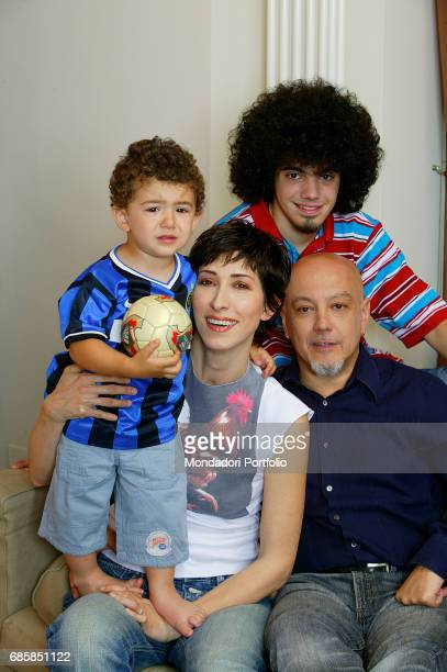 Singer and songwriter Enrico Ruggeri in his house with his partner musician Andrea Mir• and children Pier Enrico nicknamed Pico and Ugo Federico...