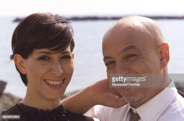 Singer and songwriter Enrico Ruggeri with his partner musician Andrea Mir• at the LII Sanremo Music Festival Sanremo Italy 2002