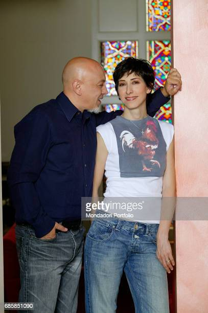 Singer and songwriter Enrico Ruggeri with his partner musician Andrea Mir• in their house Italy 2007