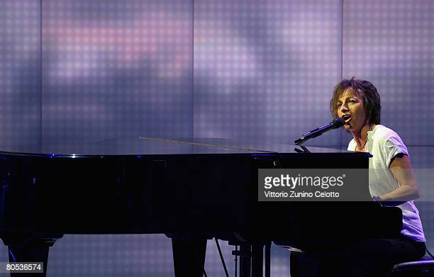 Singer and songwriter Gianna Nannini performs at 'Che Tempo Che Fa' tv show held at RAI studios on April 5 2008 in Milan Italy
