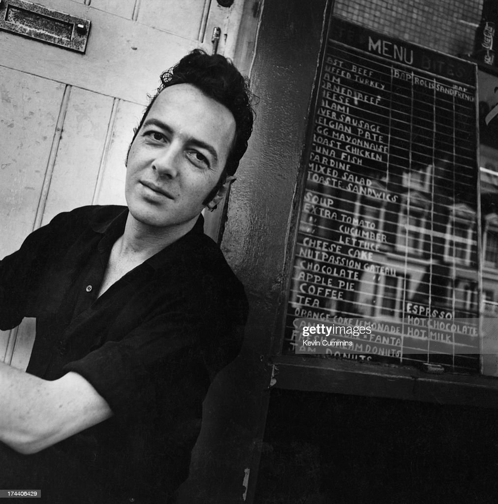 Singer and songwriter Joe Strummer (1952 - 2002), formerly of English punk group The Clash, London, August 1989.