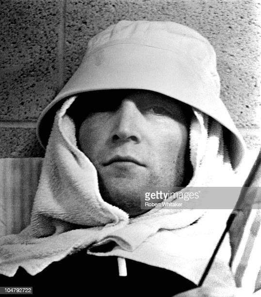 Singer and songwriter John Lennon of The Beatles relaxing after a performance at the Metropolitan Stadium Bloomington Minnesota 21st August 1965