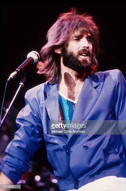 Singer and songwriter Kenny Loggins performs onstage in circa 1983 in Los Angeles California
