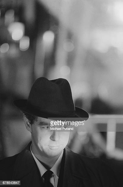 Singer and songwriter Neil Tennant of English electronic pop duo the Pet Shop Boys during the shoot for the cover of Dusty Springfield's single...