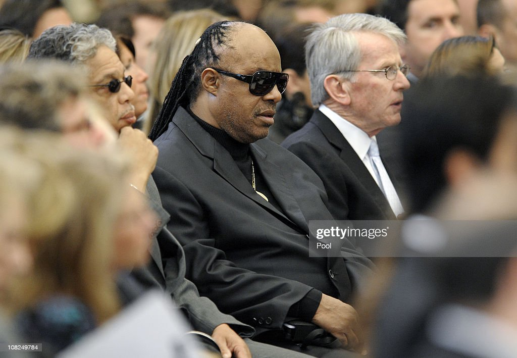 Singer and songwriter <a gi-track='captionPersonalityLinkClicked' href=/galleries/search?phrase=Stevie+Wonder&family=editorial&specificpeople=171911 ng-click='$event.stopPropagation()'>Stevie Wonder</a> attends the funeral service for Sargent Shriver at Our Lady of Mercy Catholic Church January 22, 2011 in Potomac, Maryland. Robert Sargent Shriver Jr., a politician and activist who was the first leader of the Peace Corps and was involved in other social programs, died this week at the age of 95.