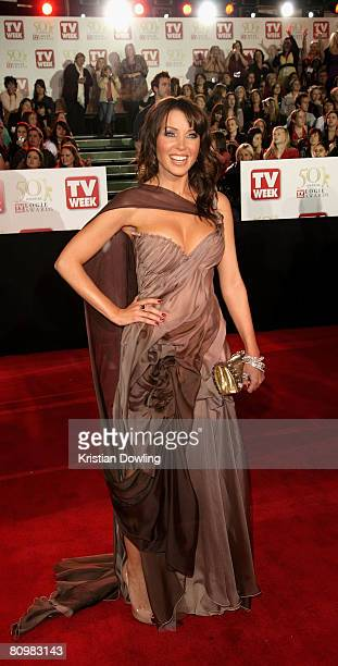 Singer and TV host Dannii Minogue arrives on the red carpet at the 50th Annual TV Week Logie Awards at the Crown Towers Hotel and Casino on May 4...