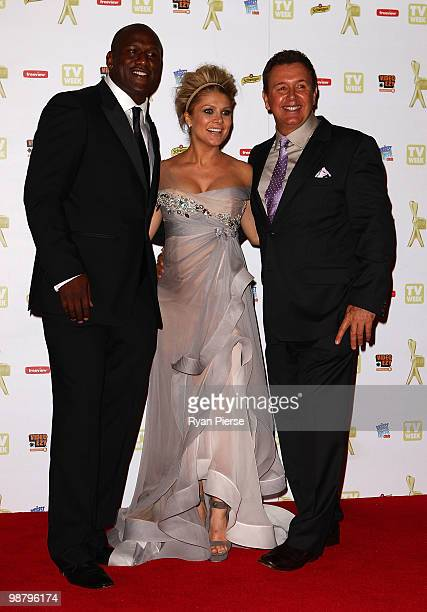 Singer and TV host Natalie Bassingthwaighte former NRL player Wendell Sailor and Peter Everitt arrive at the 52nd TV Week Logie Awards at Crown...