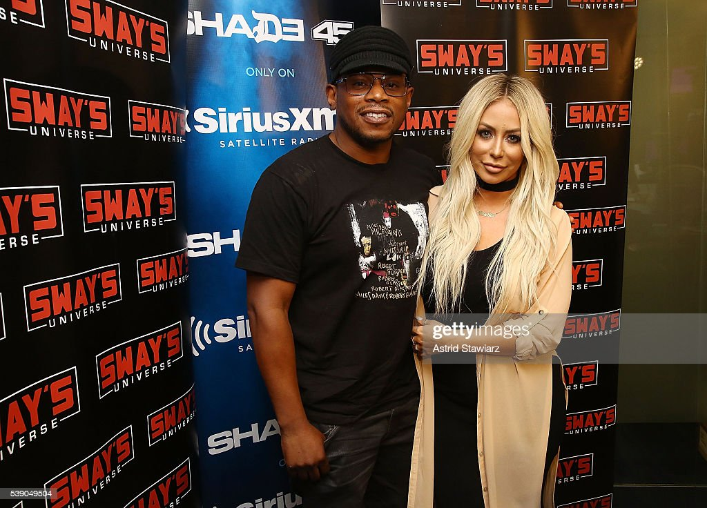 Singer and TV personality Aubrey O'Day visits 'Sway In The Morning' on Eminem's Shade 45 channel with Sway Calloway (left) at the SiriusXM Studios on June 9, 2016 in New York City.