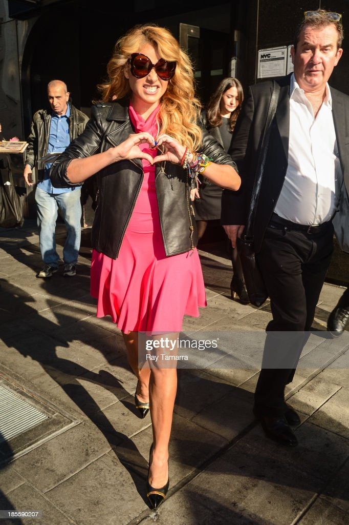 Singer and TV personality <a gi-track='captionPersonalityLinkClicked' href=/galleries/search?phrase=Paulina+Rubio&family=editorial&specificpeople=201804 ng-click='$event.stopPropagation()'>Paulina Rubio</a> leaves the 'Good Day New York'' taping at the Fox 5 Studios on October 22, 2013 in New York City.