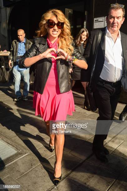 Singer and TV personality Paulina Rubio leaves the 'Good Day New York'' taping at the Fox 5 Studios on October 22 2013 in New York City