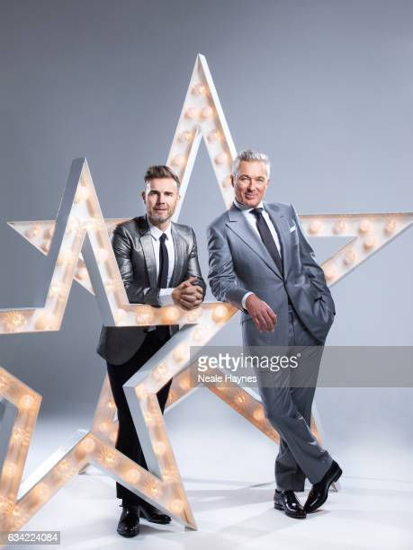 Singer and tv presenter Gary Barlow is photographed with musician and actor Martin Kemp for the Daily Mail on December 12 2016 in London England