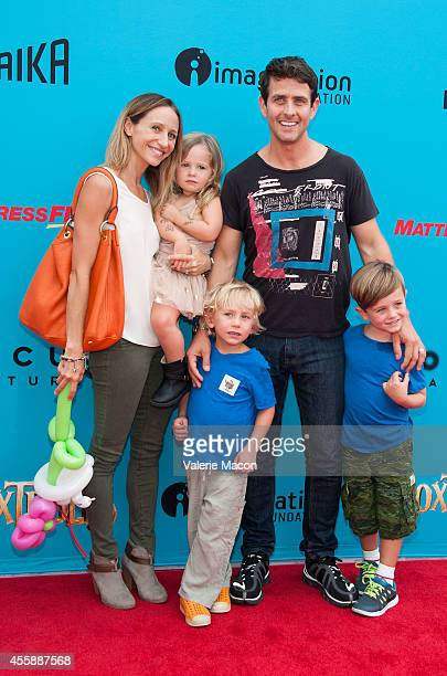 Singer and wife Barrett Williams and their children arrive at the premiere of Premiere Of Focus Features' 'The Boxtrolls' at Universal CityWalk on...