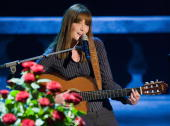 Singer and wife of French president Nicolas Sarkozy Carla Bruni performs during the 176th 'Wetten dass' show at the Messe Nuernberg on October 4 2008...