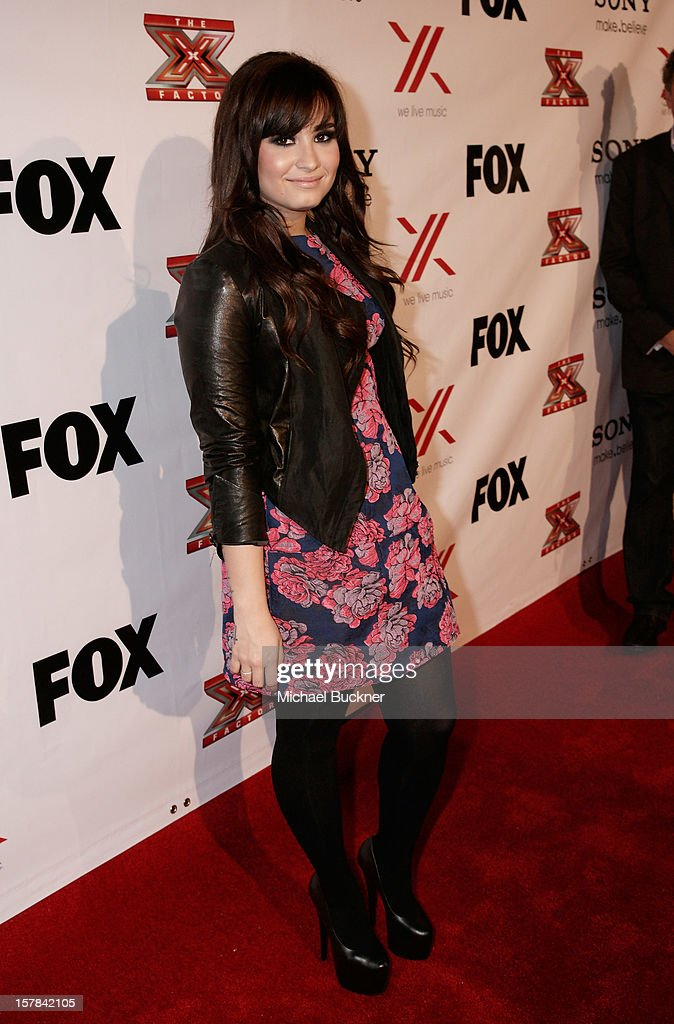 Singer and X Factor Judge Demi Lovato attends The X Factor Viewing Party Sponsored By Sony X Headphones at Mixology101 & Planet Dailies on December 6, 2012 in Los Angeles, United States.