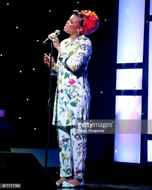 Singer Andra Day performs during JDRF LA's IMAGINE Gala to benefit type 1 diabetes research at The Beverly Hilton on April 22 2017 in Beverly Hills...