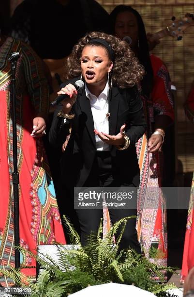 Singer Andra Day performs on stage at Oprah Winfrey's Gospel Brunch celebrating her new book 'Wisdom of Sundays' on October 15 2017 in Montecito...
