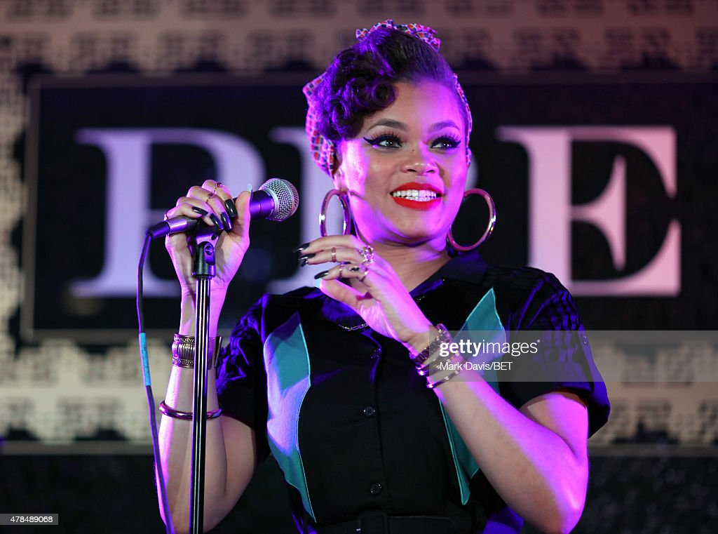 Singer Andra Day performs onstage during the 2015 BET Awards Debra Lee Pre-Dinner at Sunset Tower Hotel on June 24, 2015 in Los Angeles, California.