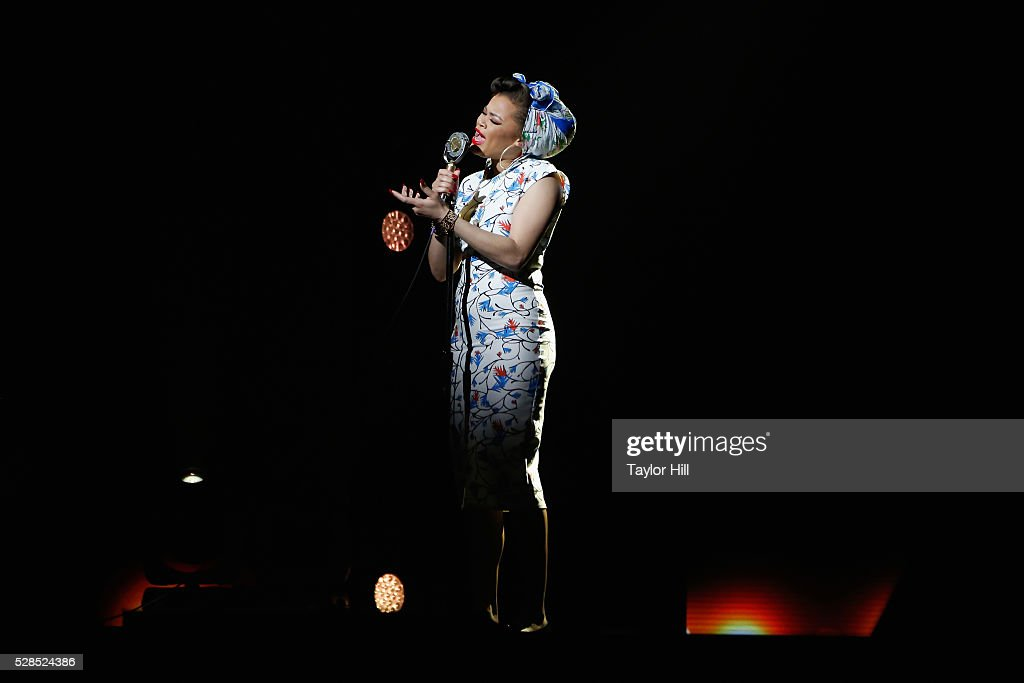 Singer <a gi-track='captionPersonalityLinkClicked' href=/galleries/search?phrase=Andra+Day&family=editorial&specificpeople=10196811 ng-click='$event.stopPropagation()'>Andra Day</a> performs onstage during YouTube Brandcast presented by Google on May 5, 2016 in New York City.