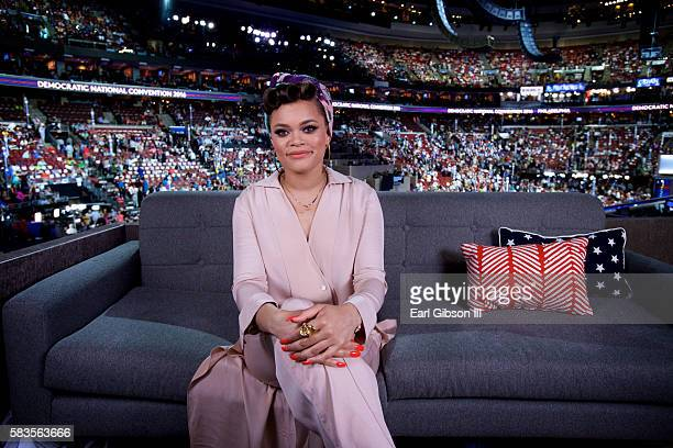 Singer Andra Day poses for a photo at the 2016 Democratic National Convention Day 2 at Wells Fargo Center on July 26 2016 in Philadelphia Pennsylvania