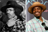 In this composite image a comparison has been made between Jimi Hendrix and Hiphop star Andre 3000 Andre 3000 will reportedly play Jimi Hendrix in a...