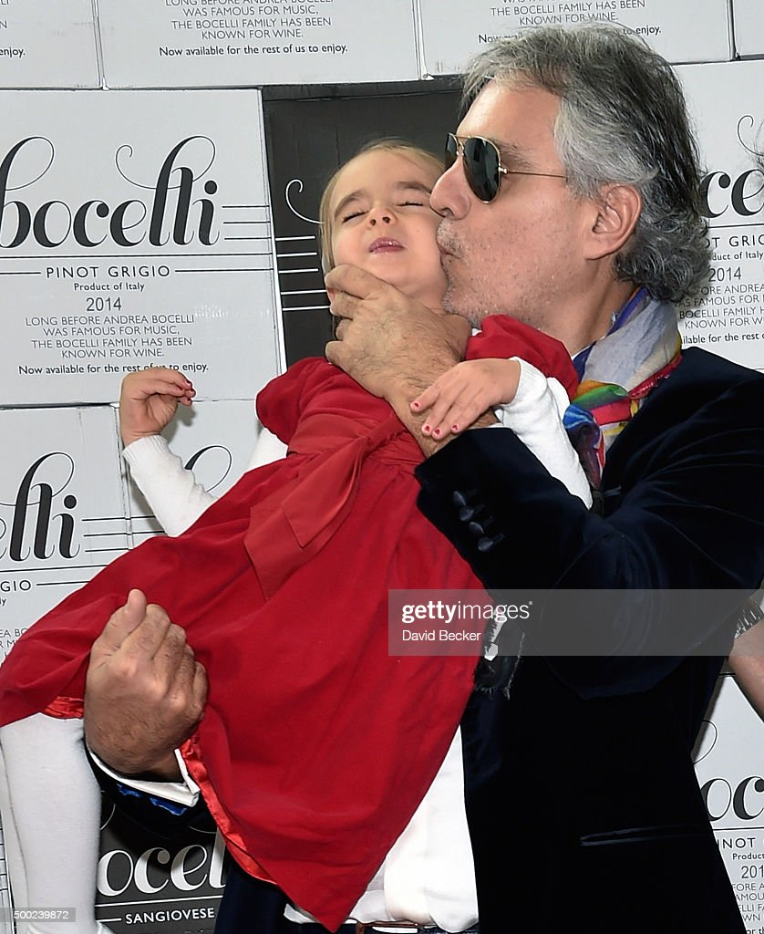 Singer <a gi-track='captionPersonalityLinkClicked' href=/galleries/search?phrase=Andrea+Bocelli&family=editorial&specificpeople=211558 ng-click='$event.stopPropagation()'>Andrea Bocelli</a> (R) and his daughter, Virginia Bocelli, attend the unveiling of a life-size marble statue of him at the Cleveland Clinic Lou Ruvo Center for Brain Health on December 6, 2015 in Las Vegas, Nevada.