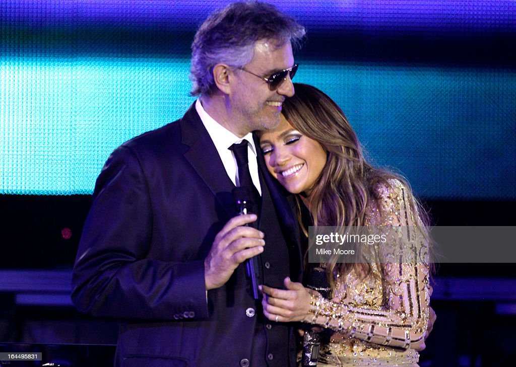 Singer <a gi-track='captionPersonalityLinkClicked' href=/galleries/search?phrase=Andrea+Bocelli&family=editorial&specificpeople=211558 ng-click='$event.stopPropagation()'>Andrea Bocelli</a> and singer Jennifer Lopez attend Muhammad Ali's Celebrity Fight Night XIX at JW Marriott Desert Ridge Resort & Spa on March 23, 2013 in Phoenix, Arizona.