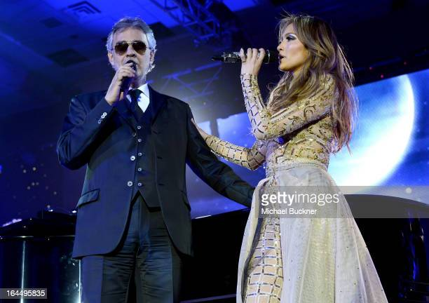 Singer Andrea Bocelli and singer Jennifer Lopez attend Muhammad Ali's Celebrity Fight Night XIX at JW Marriott Desert Ridge Resort Spa on March 23...