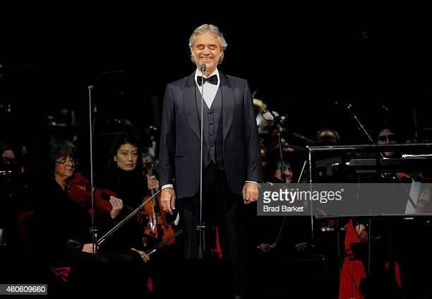 Singer Andrea Bocelli performs at Madison Square Garden on December 17 2014 in New York City