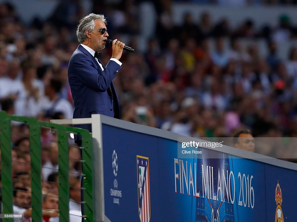 Singer <a gi-track='captionPersonalityLinkClicked' href=/galleries/search?phrase=Andrea+Bocelli&family=editorial&specificpeople=211558 ng-click='$event.stopPropagation()'>Andrea Bocelli</a> performs during Champions League final opening ceremony prior to the UEFA Champions League Final match between Real Madrid and Club Atletico de Madrid at Stadio Giuseppe Meazza on May 28, 2016 in Milan, Italy.