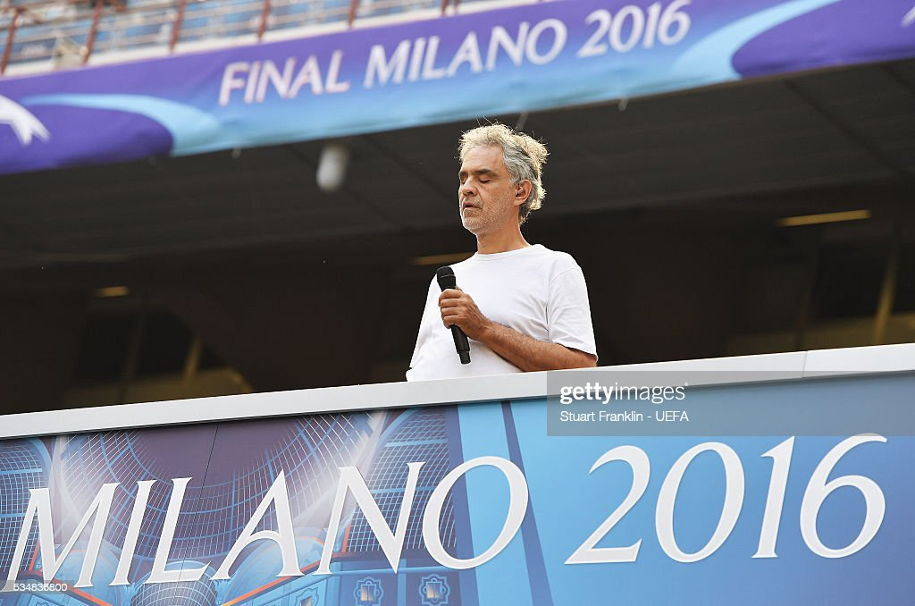 Singer <a gi-track='captionPersonalityLinkClicked' href=/galleries/search?phrase=Andrea+Bocelli&family=editorial&specificpeople=211558 ng-click='$event.stopPropagation()'>Andrea Bocelli</a> rehearses prior to the UEFA Champions League Final between Real Madrid and Club Atletico de Madrid at Stadio Giuseppe Meazza on May 27, 2016 in Milan, Italy.
