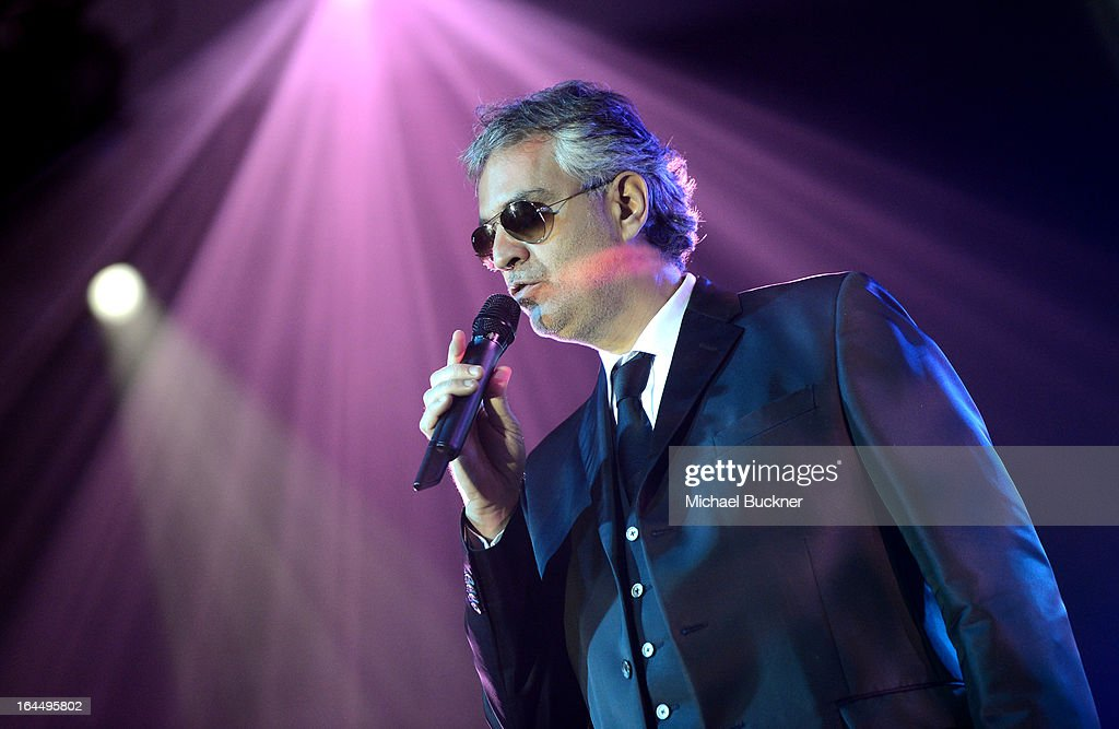 Singer <a gi-track='captionPersonalityLinkClicked' href=/galleries/search?phrase=Andrea+Bocelli&family=editorial&specificpeople=211558 ng-click='$event.stopPropagation()'>Andrea Bocelli</a> with Moet & Chandon at Celebrity Fight Night XIX at JW Marriott Desert Ridge Resort & Spa on March 23, 2013 in Phoenix, Arizona.