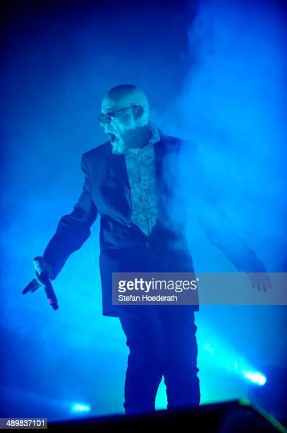 Singer Andrew Eldritch of British group The Sisters Of Mercy performs live during a concert at Columbiahalle on May 12 2014 in Berlin Germany