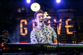 Singer Andy Grammer performs during The Grove's 2014 Summer Stage Series at The Grove on July 30 2014 in Los Angeles California
