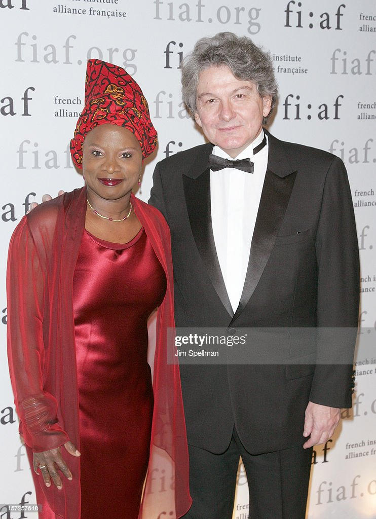 Singer Angelique Kidjo and former finance minister of France <a gi-track='captionPersonalityLinkClicked' href=/galleries/search?phrase=Thierry+Breton&family=editorial&specificpeople=536439 ng-click='$event.stopPropagation()'>Thierry Breton</a> attend the 2012 Trophee Des Arts Gala at The Plaza Hotel on November 30, 2012 in New York City.
