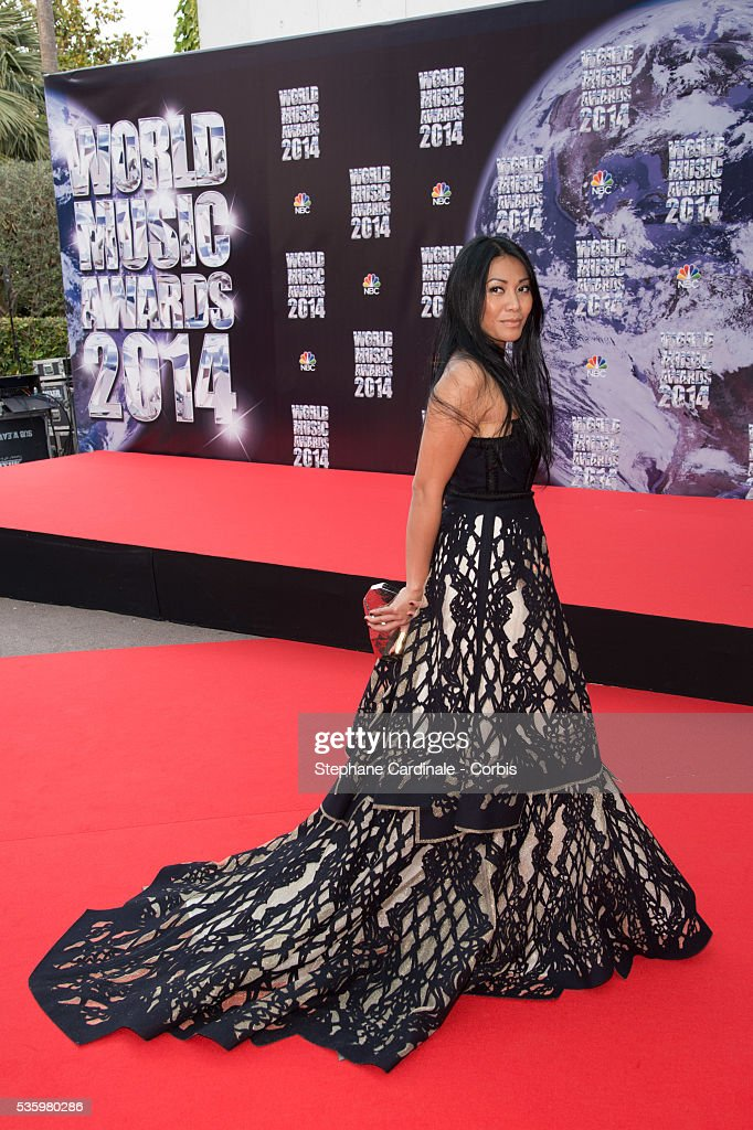 Singer Anggun arrives at the World Music Awards at Sporting Monte-Carlo on May 27, 2014 in Monte-Carlo, Monaco.