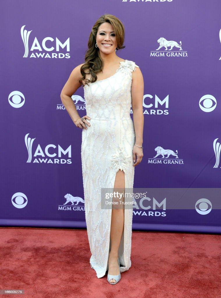 Singer Angie Johnson arrives at the 48th Annual Academy of Country Music Awards at the MGM Grand Garden Arena on April 7, 2013 in Las Vegas, Nevada.
