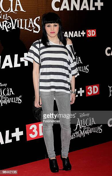 Singer Angy Fernandez attends 'Alicia en el Pais de las Maravillas' premiere at Proyecciones Cinema on April 13 2010 in Madrid Spain