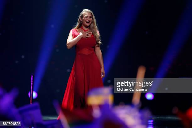 Singer Anja representing Denmark is seen on stage during the final of the 62nd Eurovision Song Contest at International Exhibition Centre on May 13...