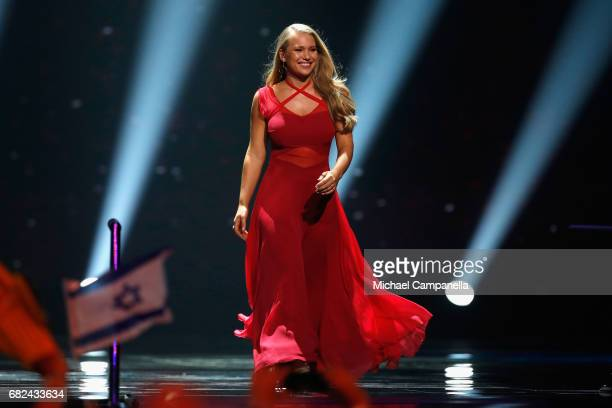Singer Anja representing Denmark is seen on stage during the rehearsal for ''The final of this year's Eurovision Song Contest'' at International...
