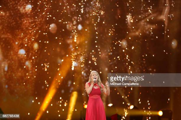 Singer Anja representing Denmark performs the song 'Where I Am' during the final of the 62nd Eurovision Song Contest at International Exhibition...